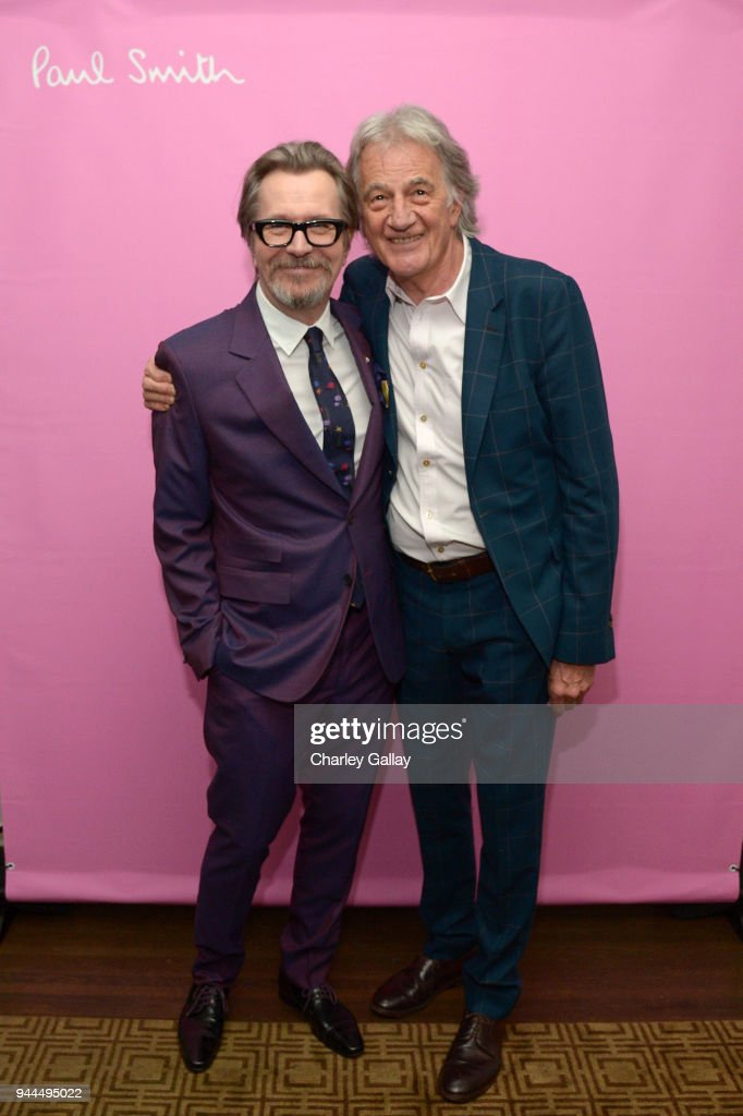 Gary Oldman (L) and Paul Smith, wearing Paul Smith, attend Paul Smith's intimate dinner with Gary Oldman at Chateau Marmont on April 10, 2018 in Los Angeles, California.