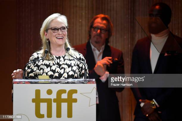 Gary Oldman and Shamier Anderson present the TIFF Tribute Actor Award to Meryl Streep during the 2019 Toronto International Film Festival TIFF...