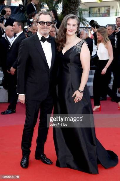 Gary Oldman and wife Gisele Schmidt attend the screening of Capharnaum during the 71st annual Cannes Film Festival at Palais des Festivals on May 17...