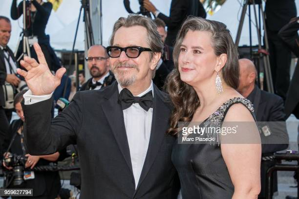 Gary Oldman and wife Gisele Schmidt attend the screening of 'Capharnaum' during the 71st annual Cannes Film Festival at Palais des Festivals on May...