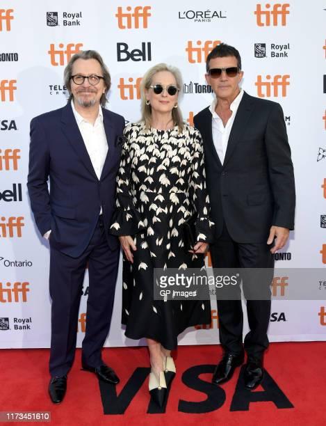 Gary Oldman Meryl Streep and Antonio Banderas attend The Laundromat premiere during the 2019 Toronto International Film Festival at Princess of Wales...