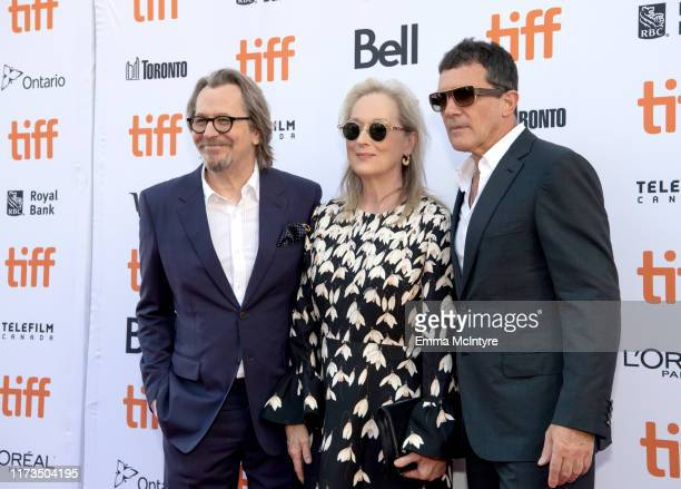 Gary Oldman Meryls Streep and Antonio Banderas attend the North American Premiere of 'The Laundromat' at the The Princess of Wales Theatre on...