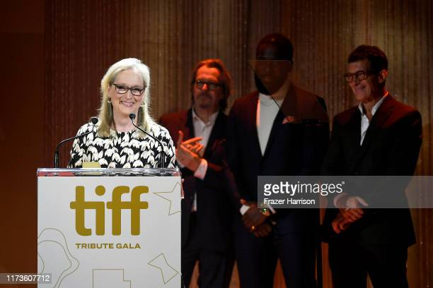 Gary Oldman Shamier Anderson and Antonio Banderas present the TIFF Tribute Actor Award to Meryl Streep during the 2019 Toronto International Film...