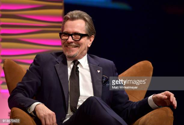 Gary Oldman speaks onstage at the Maltin Modern Master Award Honoring Gary Oldman during the The 33rd Santa Barbara International Film Festival at...