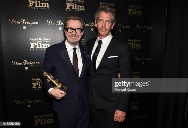 Gary Oldman visits the Dom Perignon Lounge after receiving the Maltin Modern Master Award from Ben Mendelsohn at The Santa Barbara International Film...