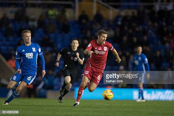 Gary O'Neil of Bristol City and Maikel Kieftenbeld of Birmingham City in action during the Sky Bet Championship match between Birmingham City and...
