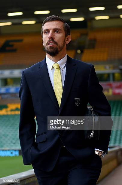 Gary O'Neil of Norwich City is seen on arrival at the stadium prior to the Barclays Premier League match between Norwich City and West Ham United at...