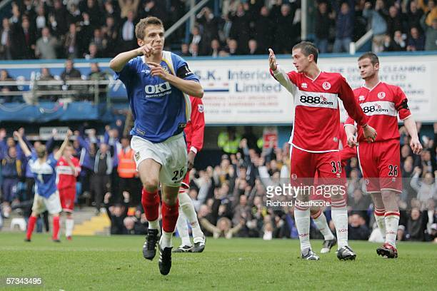 Gary O'Neil of Portsmouth celebrates his goal during the Barclays Premiership match between Portsmouth and Middlesbrough at Fratton Park on April 15...