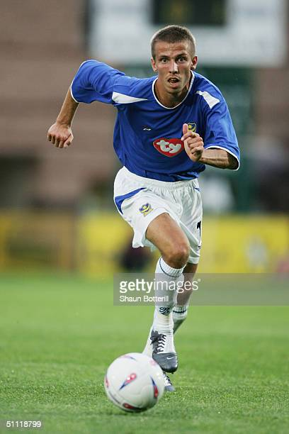 Gary O'Neil of Portsmouth in action during the Pre Season Friendly match between Wycombe Wanderers and Portsmouth at the Causeway Stadium on July 20...