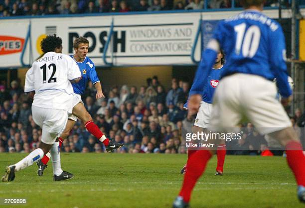 Gary O'Neil of Portsmouth scores their second goal during the FA Barclaycard Premiership match between Portsmouth and Leeds United at Fratton Park on...