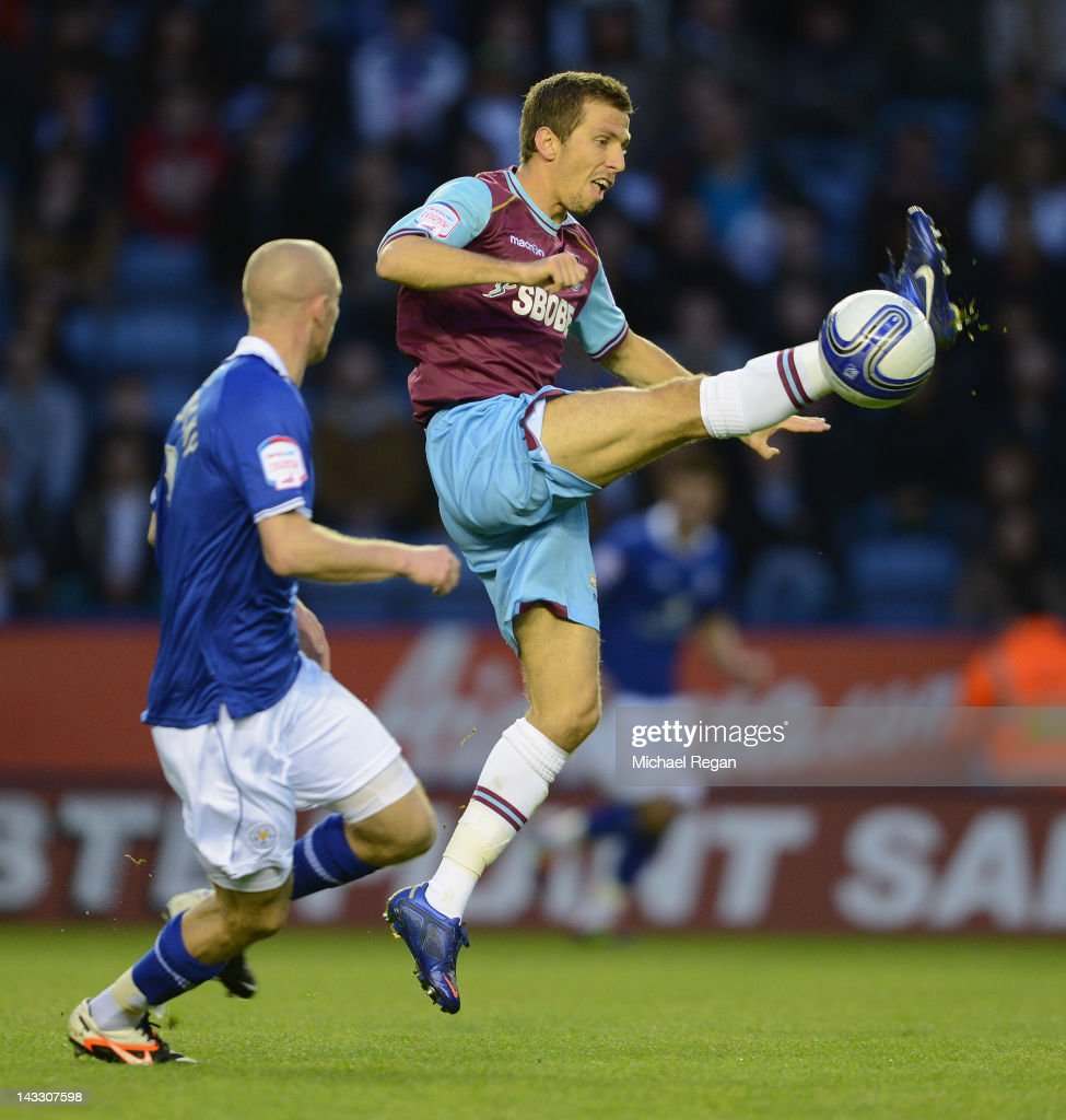 Gary O'Neil of West Ham in action with Paul Konchesky of Leicester during the npower Championship match between Leicester City and West Ham United at The King Power Stadium on April 23, 2012 in Leicester, England.