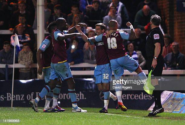 Gary O'Neil of West Ham is mobbed by team mates after scoring the second goal during the npower Championship match between Peterborough United and...