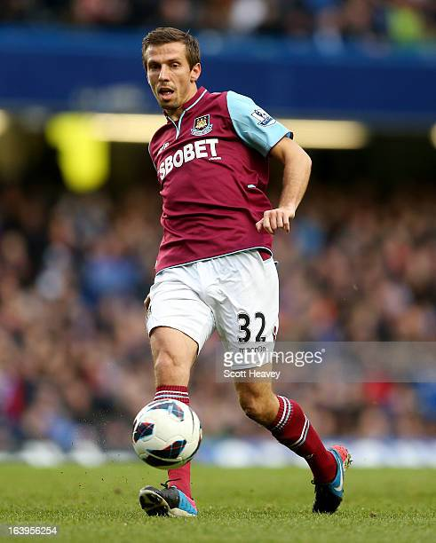 Gary O'Neill of West Ham in action during the Barclays Premier League match between Chelsea and West Ham United at Stamford Bridge on March 17 2013...