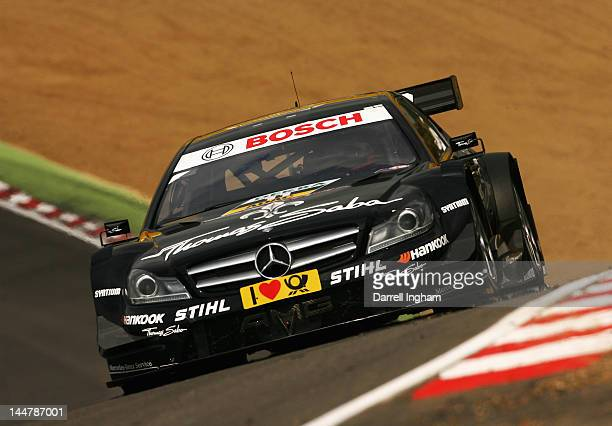 Gary Paffett of Great Britain drives the Thomas Sabo Mercedes AMG C Coupe during the DTM German Touring Car Championship race at the Brands Hatch...