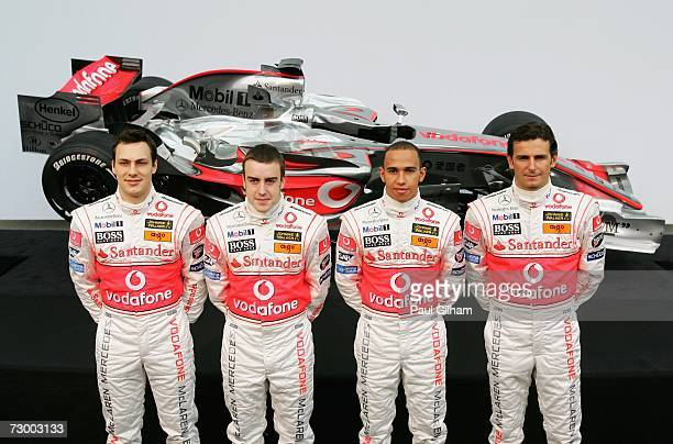 Gary Paffett of Great Britain Fernando Alonso of Spain Lewis Hamilton of Great Britain and Pedro de la Rosa of Spain pose together during the launch...