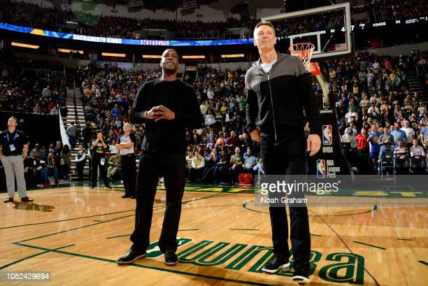 Gary Payton and Detlef Schrempf are seen at the game between the Golden State Warriors and the Sacramento Kings during a preseason game on October 5...