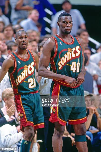 Gary Payton and Shawn Kemp of the Seattle SuperSonics stand circa 1996 at the Delta Center in Salt Lake City Utah NOTE TO USER User expressly...