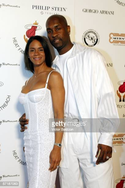 Gary Payton and wife Monique Payton arrive at Pat Riley's Motown Concert on March 25 2006 at the Riley Residence in Miami Florida NOTE TO USER User...