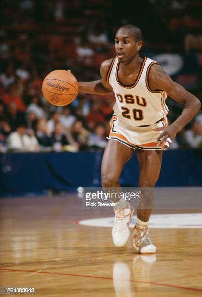 Gary Payton, Guard for the Oregon State Beavers dribbles the ball down court during the 1987/88 NCAA Pac-10 Conference college basketball season...
