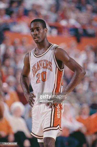 Gary Payton, Guard for the Oregon State Beavers during the 1988/89 NCAA Pac-10 Conference college basketball season circa January 1989 at the Gill...