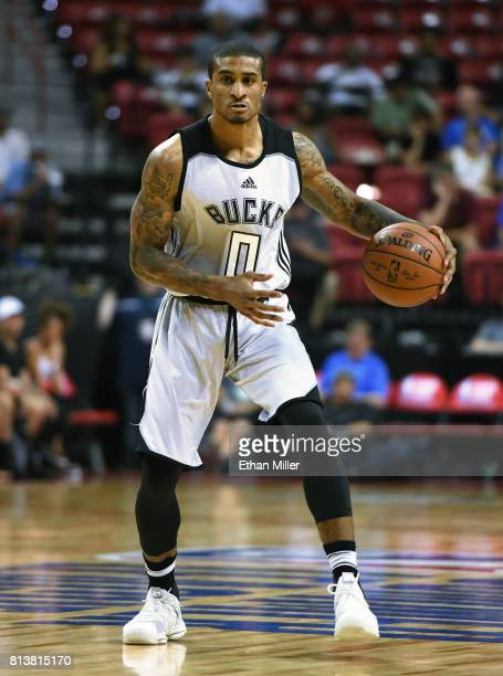 Gary Payton II brings the ball up the court against the Sacramento Kings during the 2017 Summer League at the Thomas Mack Center on July 12 2017 in...