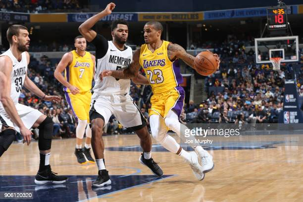Gary Payton II handles the ball against the Memphis Grizzlies on January 15 2018 at FedExForum in Memphis Tennessee NOTE TO USER User expressly...