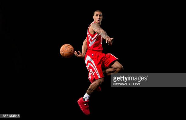 Gary Payton II of the Houston Rockets poses for a portrait during the 2016 NBA rookie photo shoot on August 7 2016 at the Madison Square Garden...