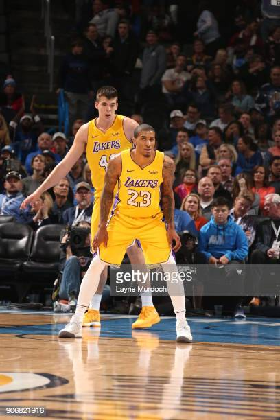 Gary Payton II of the Los Angeles Lakers defends during the game against the Oklahoma City Thunder on January 17 2018 at Chesapeake Energy Arena in...