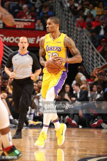Gary Payton II of the Los Angeles Lakers handles the ball against the New Orleans Pelicans on February 14 2018 at the Smoothie King Center in New...