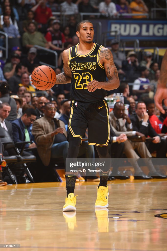Gary Payton II of the Los Angeles Lakers handles the ball against ... e3c2df593