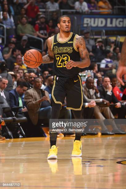 Gary Payton II of the Los Angeles Lakers handles the ball against the Houston Rockets on April 10 2017 at STAPLES Center in Los Angeles California...