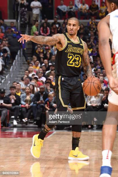 Gary Payton II of the Los Angeles Lakers handles the ball against the LA Clippers on April 11 2018 at STAPLES Center in Los Angeles California NOTE...