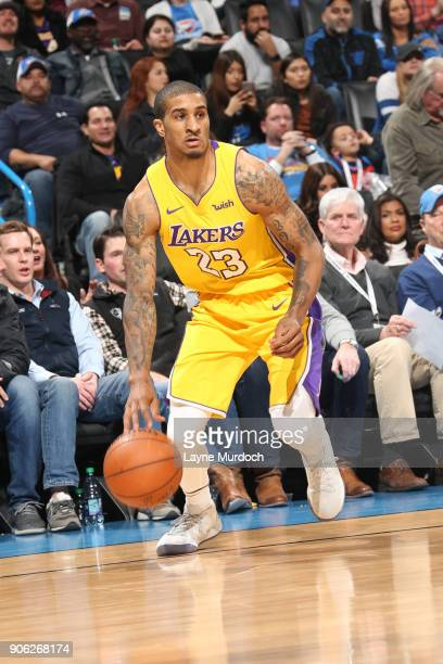 Gary Payton II of the Los Angeles Lakers handles the ball during the game against the Oklahoma City Thunder on January 17 2018 at Chesapeake Energy...