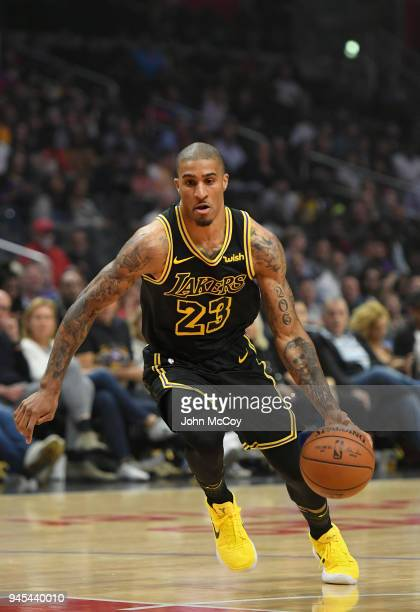 Gary Payton II of the Los Angeles Lakers in the first half against the Los Angeles Clippers at Staples Center on April 11 2018 in Los Angeles...