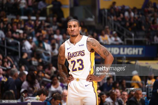 Gary Payton II of the Los Angeles Lakers looks on during the game against the Utah Jazz on April 8 2018 at STAPLES Center in Los Angeles California...