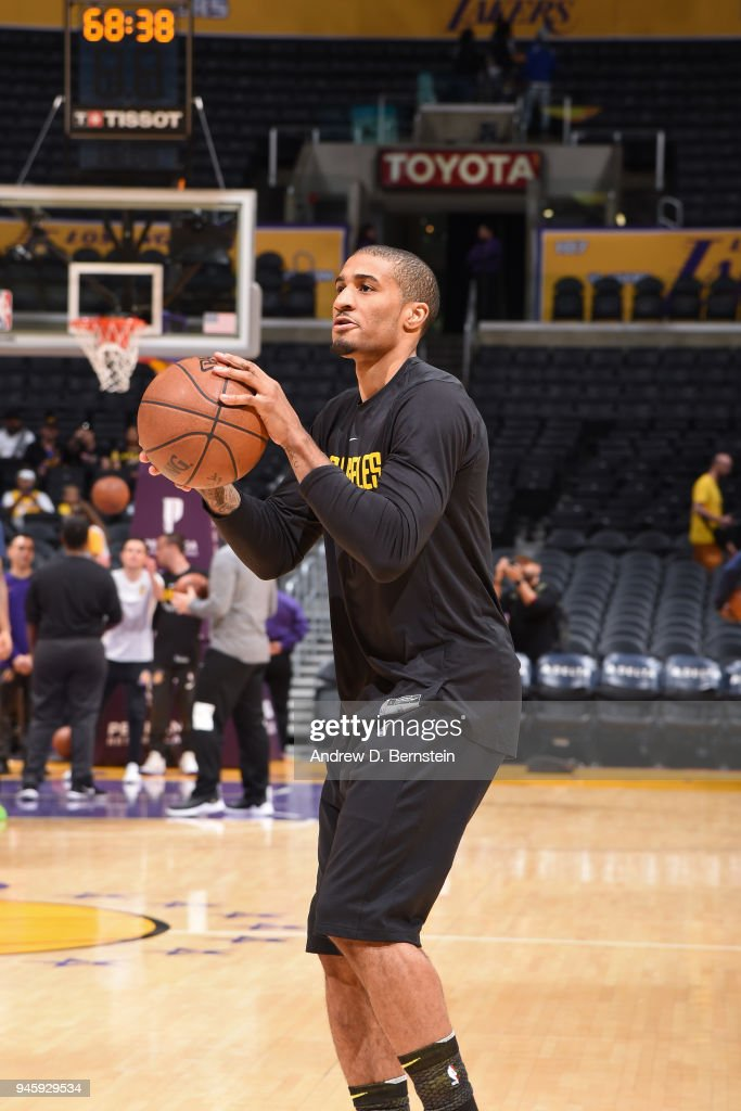 Gary Payton II of the Los Angeles Lakers warms up before the game ... 1702c970a