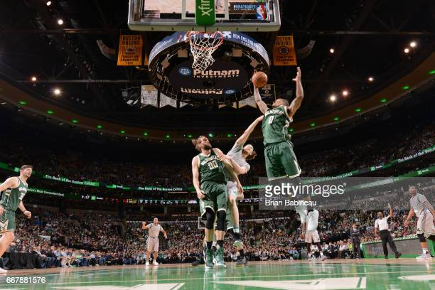 Gary Payton II of the Milwaukee Bucks goes to the basket against the Boston Celtics on April 12 2017 at the TD Garden in Boston Massachusetts NOTE TO...