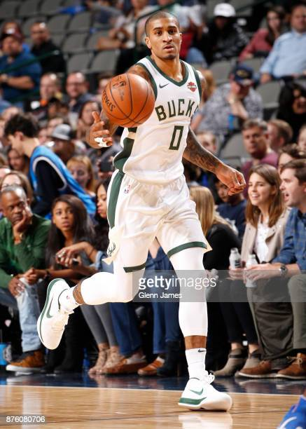Gary Payton II of the Milwaukee Bucks handles the ball against the Milwaukee Bucks on Novemeber 18 2017 at the American Airlines Center in Dallas...