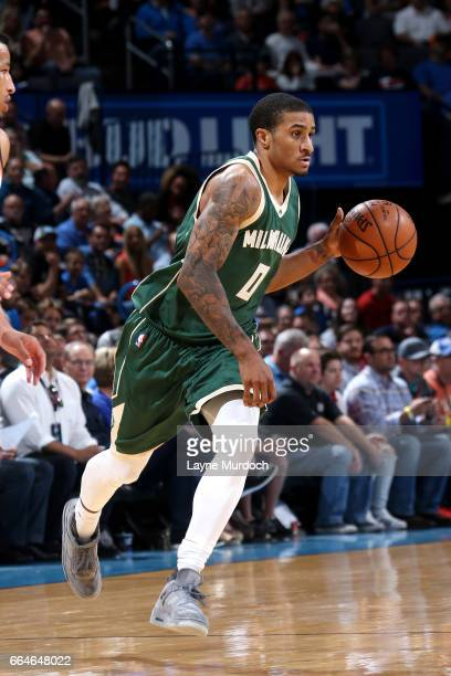 Gary Payton II of the Milwaukee Bucks handles the ball during the game against the Oklahoma City Thunder on April 4 2017 at Chesapeake Energy Arena...