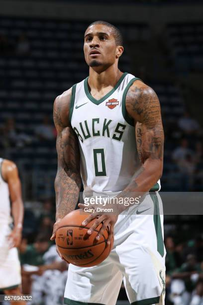 Gary Payton II of the Milwaukee Bucks shoots the ball during a preseason game against the Indiana Pacers on October 4 2017 at the BMO Harris Bradley...