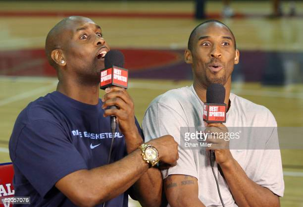 Gary Payton interviews Kobe Bryant of the USA Basketball Men's Senior National Team on the Best Damn Sports Show Period after a practice at Valley...