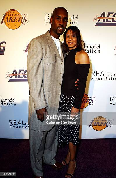 Gary Payton of the Los Angeles Lakers and his wife Monique arriving at the Shaq hosting a night of preseason party to benefit the Lakers Youth...