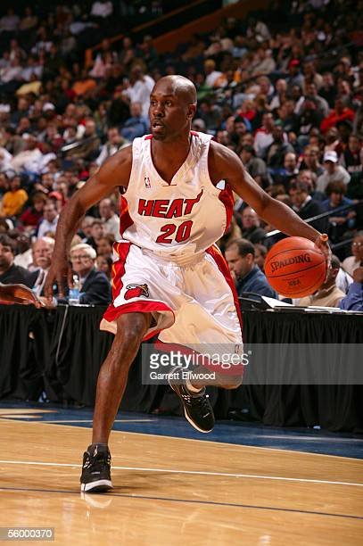 Gary Payton of the Miami Heat dribbles against the Atlanta Hawks on October 24 2005 at the Gaylord Entertainment Center in Nashville Tennesee NOTE TO...