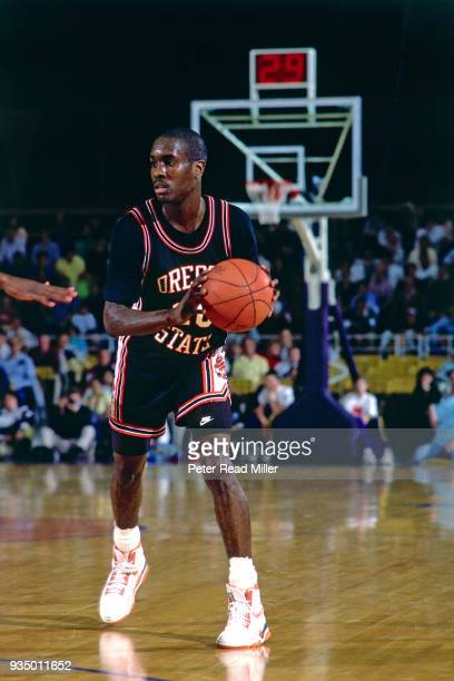 Gary Payton of the Oregon State Beavers dribbles circa 1990 in Corvallis, Oregon. NOTE TO USER: User expressly acknowledges and agrees that, by...