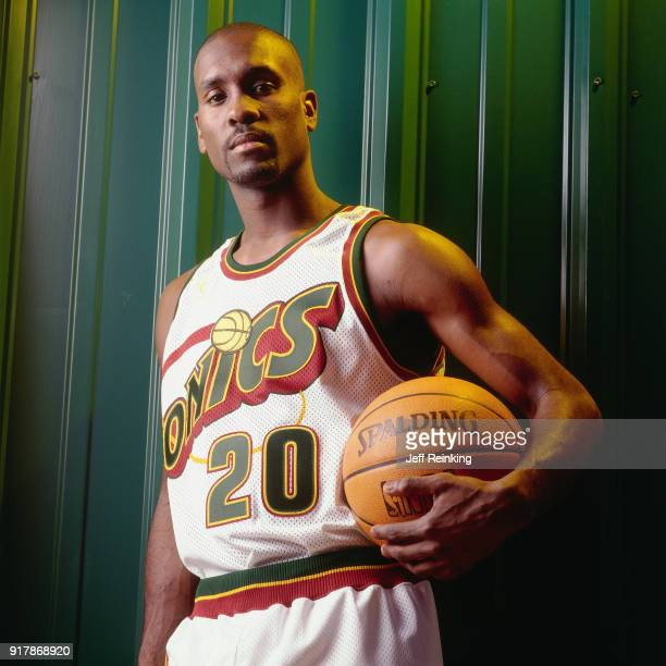 Gary Payton of the Seattle SuperSonics poses for a portrait during media day at Key Arena in Seattle Washington on October 8 1996 in Seattle...