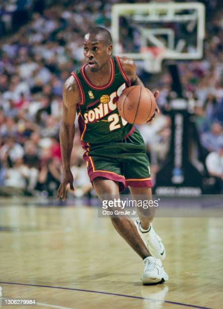 Gary Payton, Point Guard for the Seattle SuperSonics dribbles the basketball down court during the NBA Pacific Division basketball game against the...