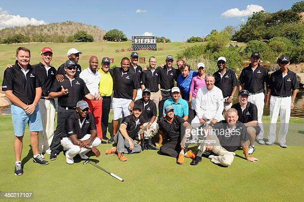 Gary Player and players of Team Player Team Goosen Team Fasth Team Johnstone Team Woods and Team Levet pose during the prizegivingh ceremony for the...