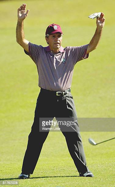 Gary Player captain of the Rest of the World team reacts to a shot from one of his playing partners during the Thursday Proam of the UBS Cup 2004 on...