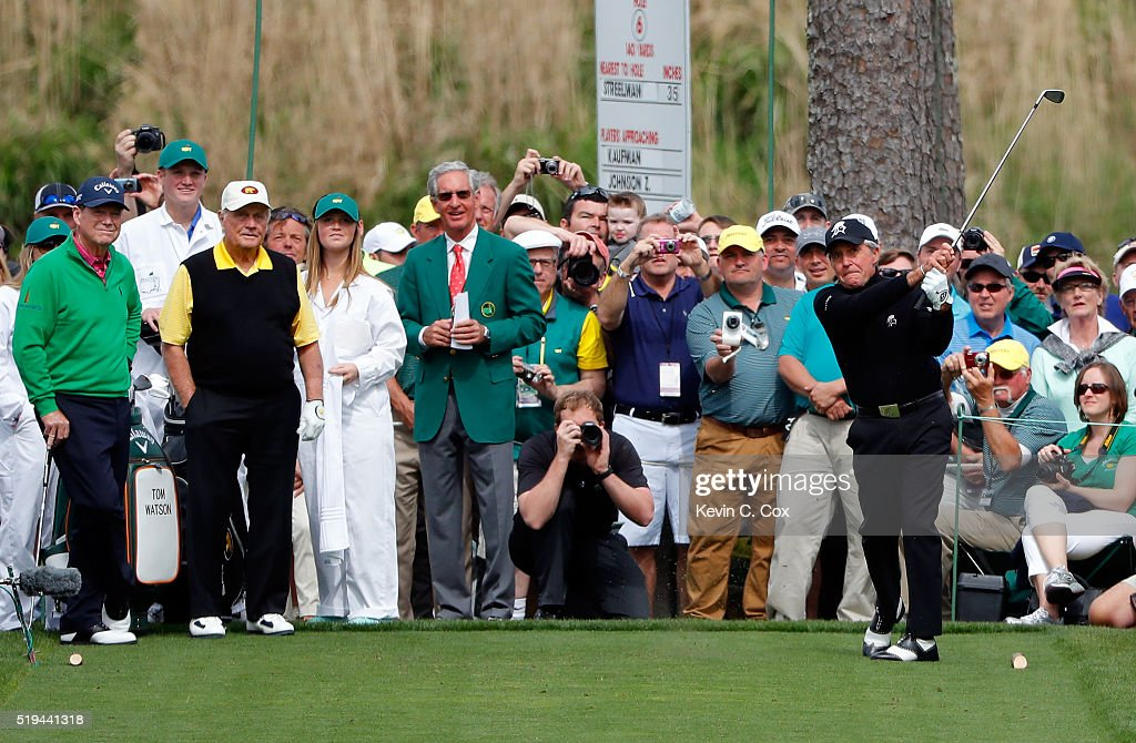 Gary Player hits a hole in one on the seventh hole as Tom Watson of the United States and Jack Nicklaus look on during the Par 3 Contest prior to the start of the 2016 Masters Tournament at Augusta National Golf Club on April 6, 2016 in Augusta, Georgia.