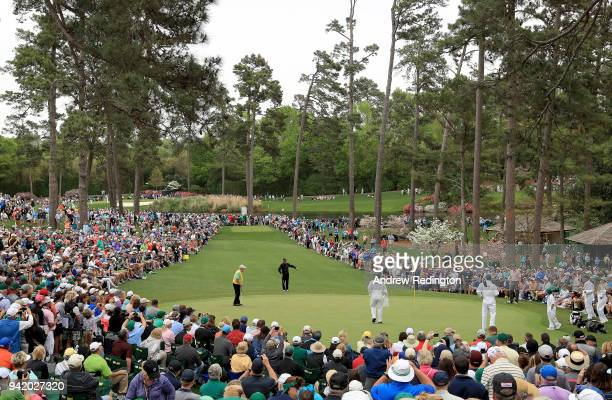Gary Player of South Africa Jack Nicklaus of the United States and Tom Watson of the United States are seen on the seventh green during the Par 3...